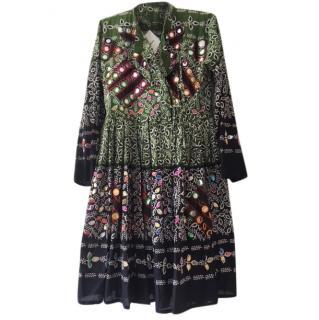 Juliet Dunn Leaf Print Coat Dress with Sequins