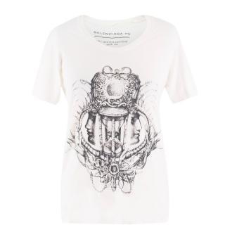 Balenciaga Cream Graphic T-Shirt
