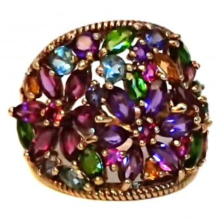 Multi Stone Amethyst, Topaz & Garnet Ring 9ct Gold