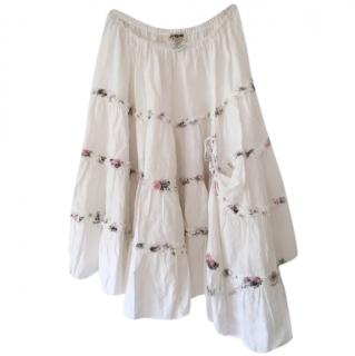 Sunday St Tropez White Linen Tiered Short Skirt