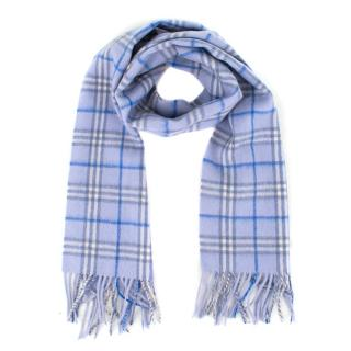 Burberry Blue Check Wool Scarf
