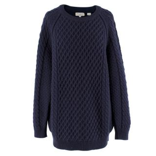 Chinti and Parker Navy Cable-Knit Wool Sweater