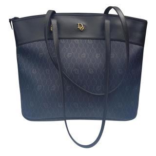 Christian Dior Vintage Navy Blue Monogrammed Shoulder Tote Bag.
