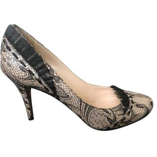 Casadei Lace and Leather Court Shoes