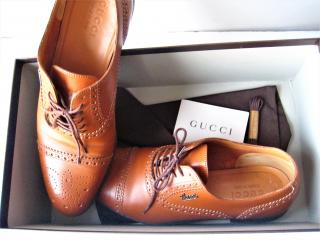 Gucci Brown Leather Cirano Lace Up Shoes
