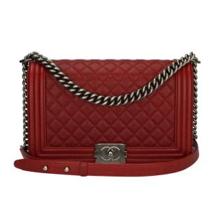 CHANEL Caviar New Medium Rich Red Quilted Boy Bag