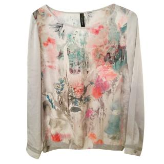 Marc Cain Silk Floral Print Top, size 3