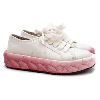 Marco de Vincenzo Quilted Leather and Velvet Sneakers