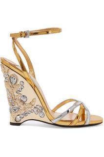 Prada Embellished Wedge Sandals
