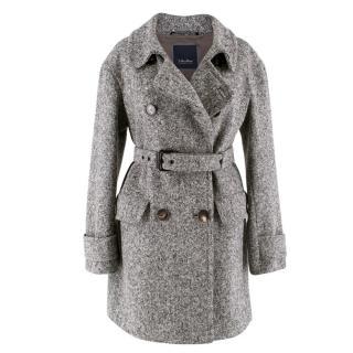 'S MaxMara Black and White Wool Coat