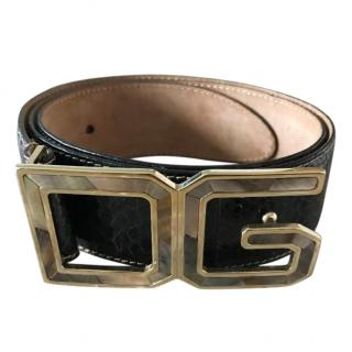 Dolce & Gabbana Precious Skin Belt with Mother of Pearl Buckle