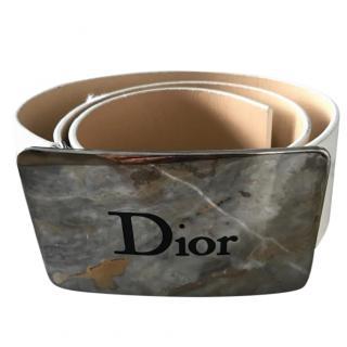 Dior White Leather Belt