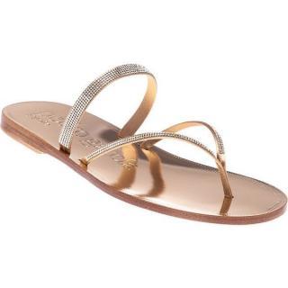 Pedro Garcia Ilsa Skinny Crystal & Leather Thong Sandals