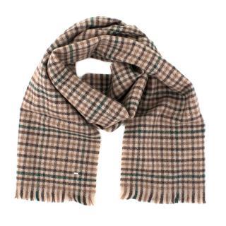 Saint Laurent Wool Beige Check Scarf