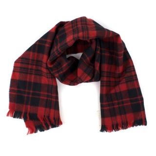 Saint Laurent Wool Red and Navy Scarf
