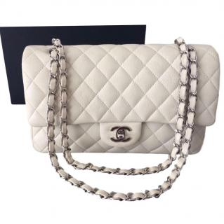 Chanel White Quilted Medium Classic Double Flap Bag