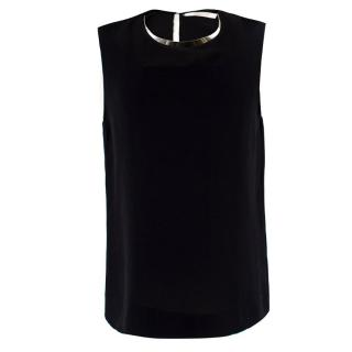 Chloe Black Silk Top with Metal Collar