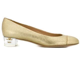 Chanel Vintage Perspex Heeled Gold Ballet Flats