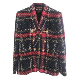 Balmain Tartan Tweed Blazer