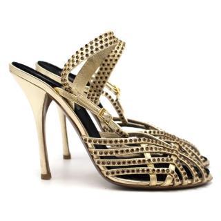 Roberto Cavalli Gold Embellished Heeled Sandals