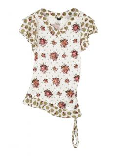 Joseph floral and spot print asymmetrical T-shirt