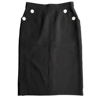 Escada Black Pencil Skirt with button detail