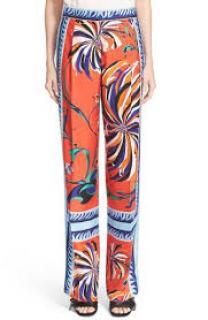 Emilio Pucci 'Cactus Foulard' Silk Trousers