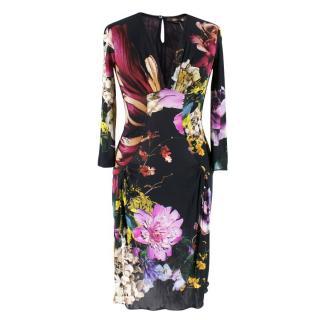 Roberto Cavalli Floral Print Long Sleeve Dress