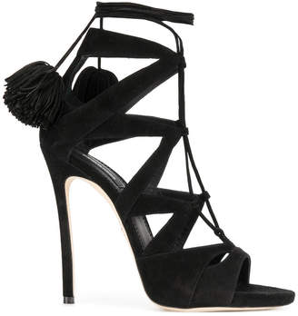 DSquared2 Pom Pom Black Suede Sandals