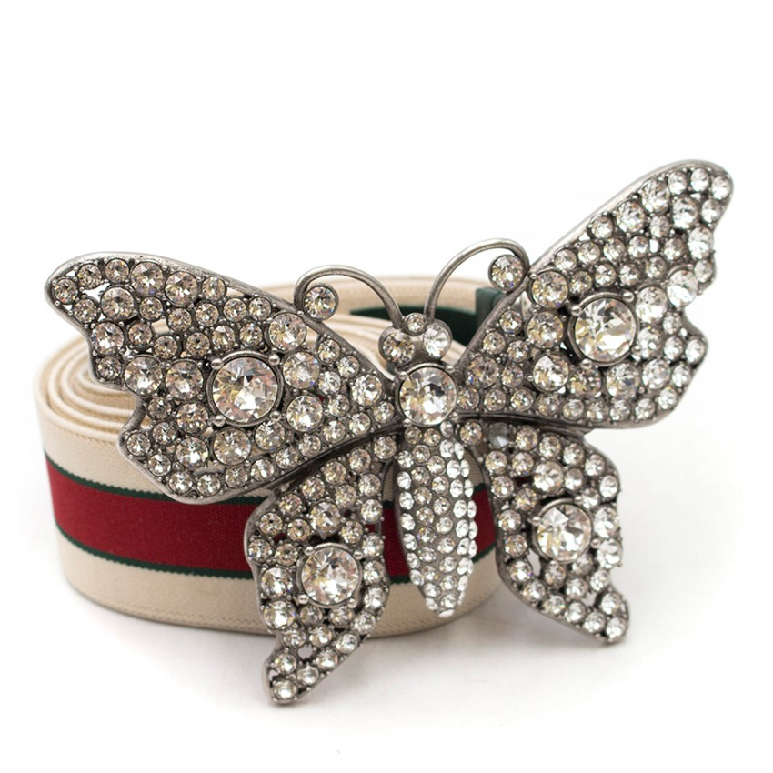 b4a7bac2895 Gucci Striped Belt With Crystal Butterfly Buckle