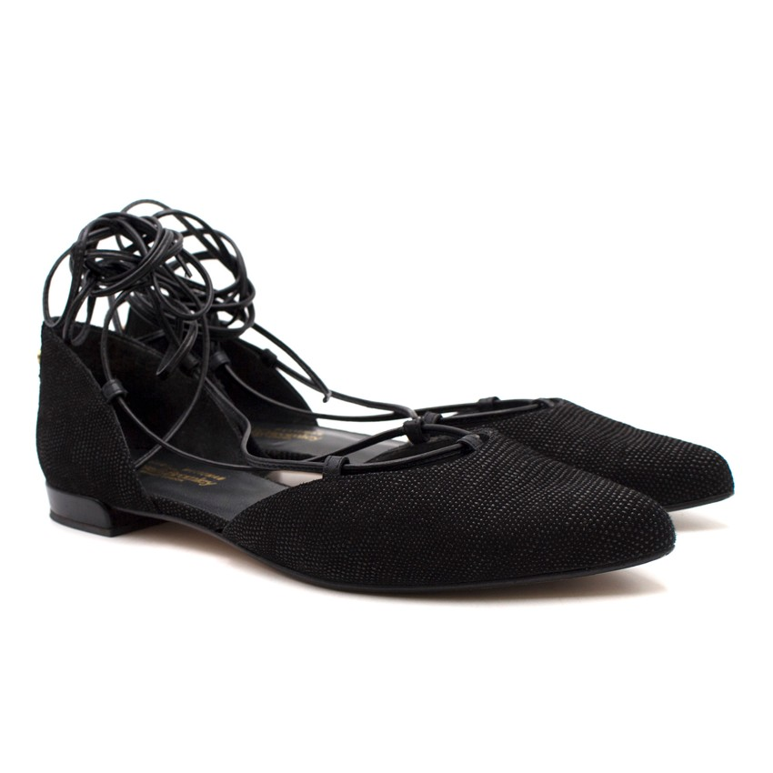 Stuart Weitzman Black Lace-up Flats