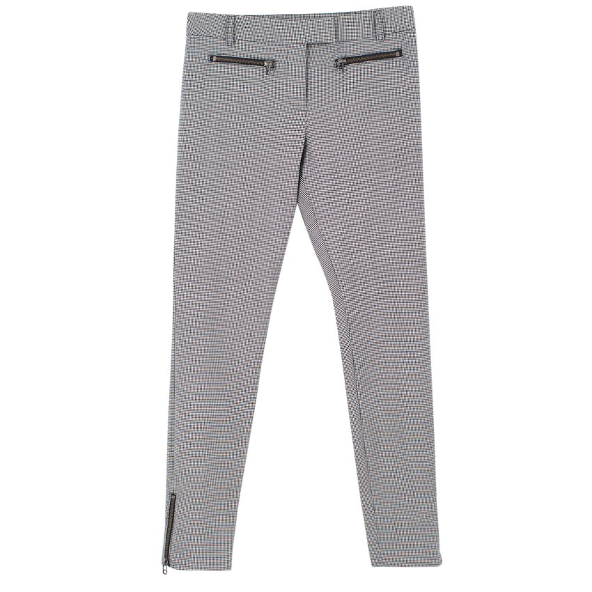 Veronica Beard Houndstooth Wool-Blend Trousers
