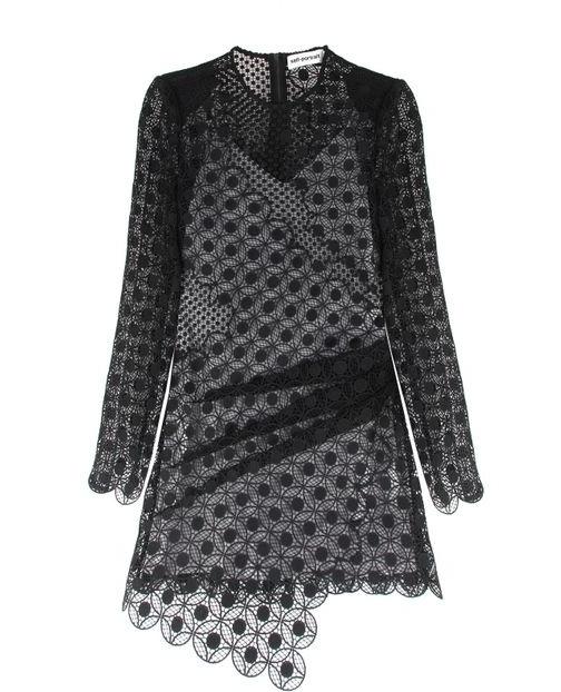 Self Portrait Black Guipure Lace Mini Dress