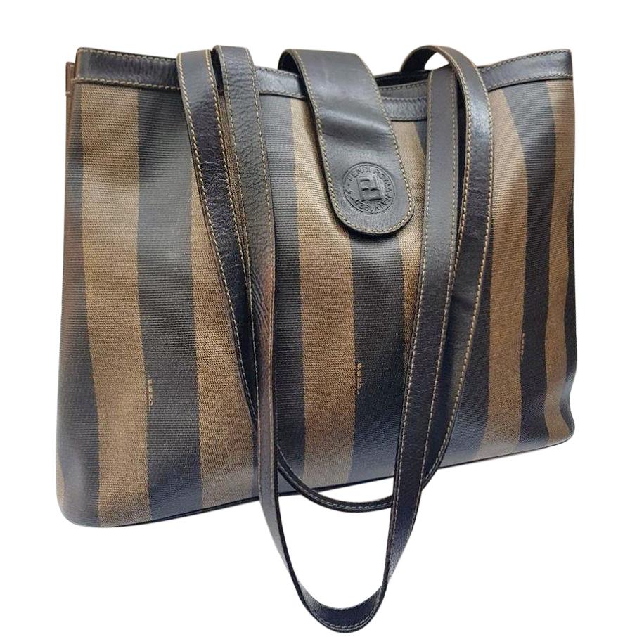 c0a912e66b9d Fendi Vintage Tan and Brown Pequin Tote  Shoulder Bag.