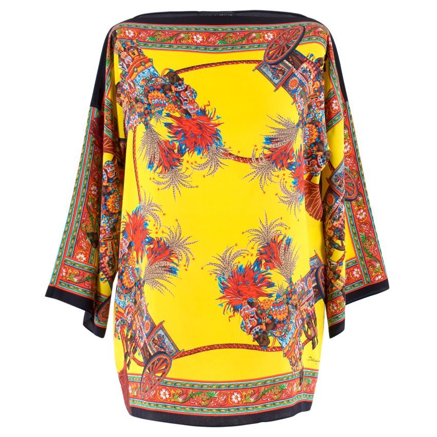 75a789f2 Dolce Gabbana Yellow Abstract Silk Blouse   HEWI London
