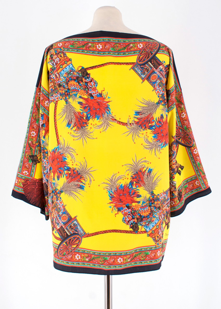 b52a37f6 Dolce & Gabbana Yellow Abstract Silk Blouse. 28. 12345678910