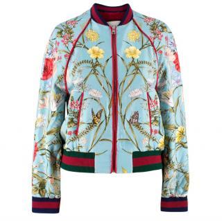 Gucci Blue Floral Silk Bomber Jacket