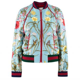 Gucci Blue Floral Silk Bomber Jacket