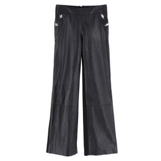 David Koma Black Leather Trousers