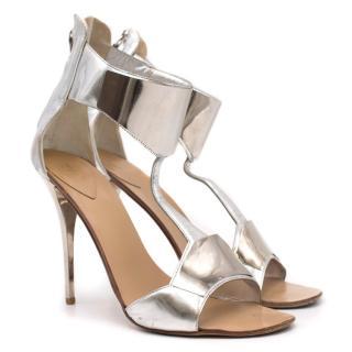 Giuseppe Zanotti Silver Mirror Cuff Sandals