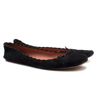 Alaia Black Suede Ballet Flats