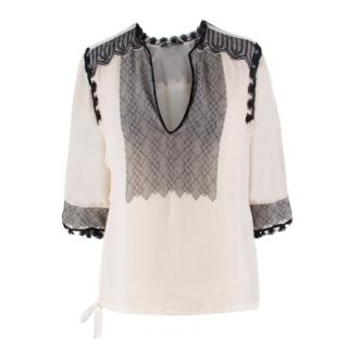 Yves Saint Laurent Embroidered Silk Blouse