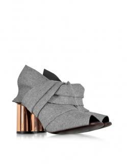 Proenza Schouler Grey Felt Knot Mule Heels