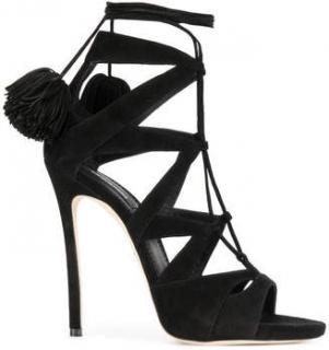 DSquared2 Pom Pom Black Suede Sandals
