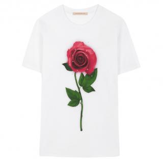 Christopher Kane Beauty and the Beast collection rose print T-shirt