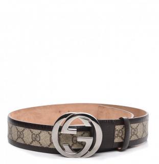 Gucci Brown Tan Monogram Silver Belt