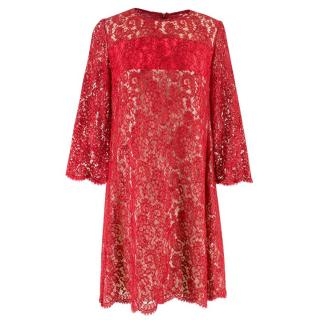 Natan Red Lace Shift Dress