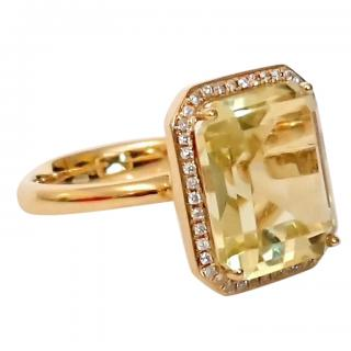 Annoushka Lemon Quartz & Diamond Ring 18ct Gold