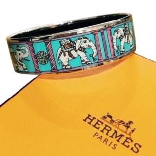 Hermes Enamel Elephant Print Bracelet