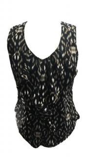 Gharani Strok Snakeskin Print Ruffle Vest